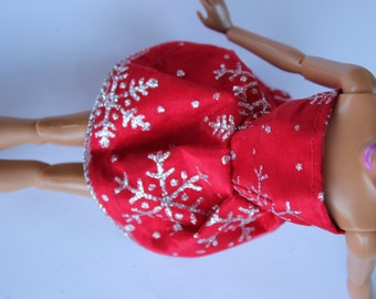 11.5 inch dolls clothes - red snowflake dress (72)