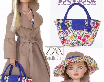 Sewing pattern for 16 inch fashion dolls: Tote Bag & Reversible Hat