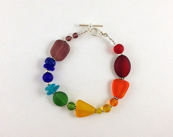 Rainbow sea glass bracelet seaglass bracelet rainbow bracelet glass beads sea glass jewelry seaglass jewelry rainbow jewelry handmade beaded