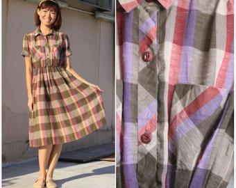 1960 Vintage Dress/ Mudpie Plaid Dress/ Plaid dress/ Gingham dress/ Spring Dress/ Small Dress/ Shirt Dress/ Day Dress/ Garden/ Summer Dress