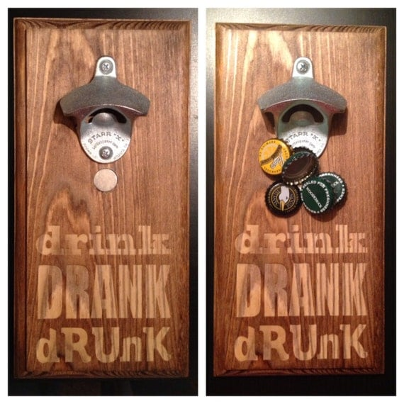 Items similar to wall mount bottle opener with magnetic cap catcher drink drank drunk must - Bottle opener wall mount magnet ...