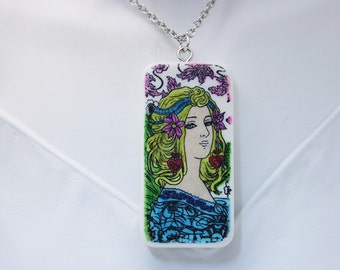 """Art Nouveau Woman with Simple Floral Background, Tile Pendant, Hand Decorated, 2"""" x 1"""" Up-cycled Domino Tile Pendant Necklace"""