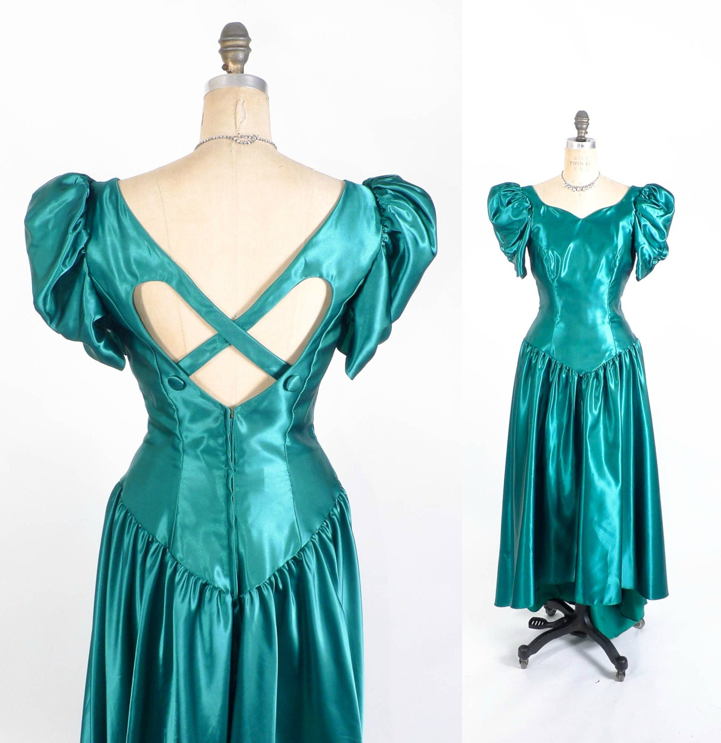 Vintage 80's Prom Dress // Teal Fishtail Prom Gown