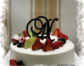 "Wedding Cake Topper - 5""or 6"" Beautiful Single Monogram letter Cake Topper ( Special Custom Made Initial Wedding Topper )"