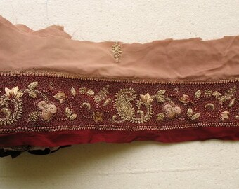 "16"" long border remnant Beautiful Vintage sari border remnant"