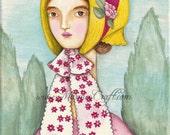 "SALE Victorian bonnet girl Art Print, ""Ribbons"" SALE"