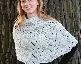 GREY Sequoia Merino Wool Knit Capelet, Chunky, Lace, Hand Knit, Made in New York, Gray, Soft, Hygge, Sweater, Poncho, Wrap, Cape, Winter