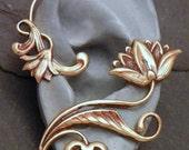 Golden Flower Ear Wrap  -  LOTUS SERENITY  -  Intricate Brass Ear Cuff