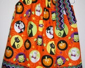 Pillowcase Dress HALLOWEEN Party CHEVRON Pumpkins Ghosts Cats Monster Fall baby toddler girl - lilsweetieboutique