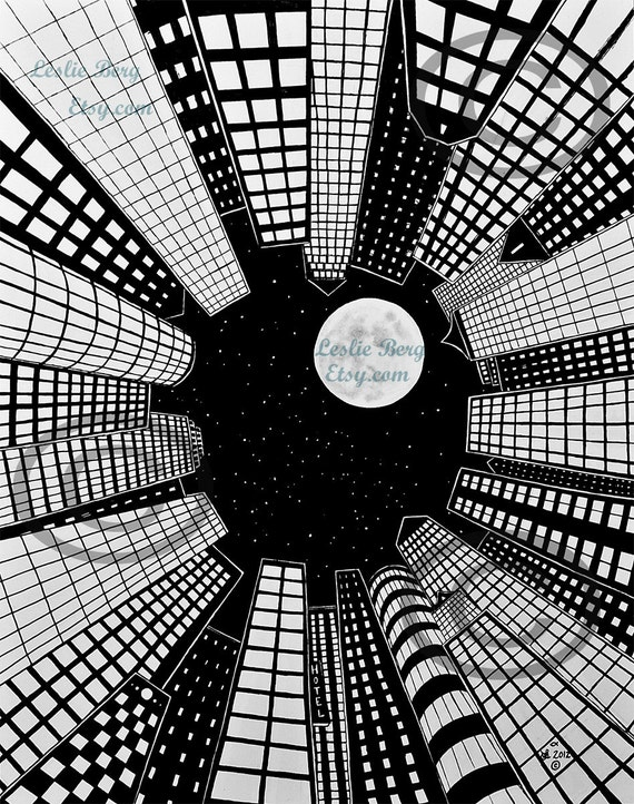 """Ever Skyward 8.5""""x11""""  PRINT by Leslie Berg skyscrapers and full moon"""