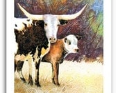 "Longhorn Cow Calf Art ""Longhorn Mama Cow"" 11x14"" or 13x19"" Print Signed and Numbered"