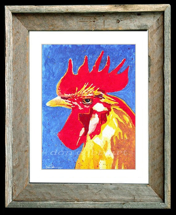Rooster Chicken Art 11x13 Barn Wood Framed Matted