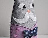 Dapper Cat Plush with mustache - ''Monsieur Chat'' - hand sewn grey lilac felt, vintage blue silk tie, flower embroidery OOAK
