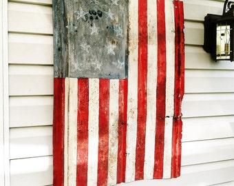 American tin flag - salvaged handmade rustic folk art