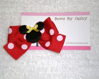 Red Minnie Mouse Hair Bow - Baby Hair Bow - Small Hair Bow - Toddler Hair Bow - First Birthday Hair Bow
