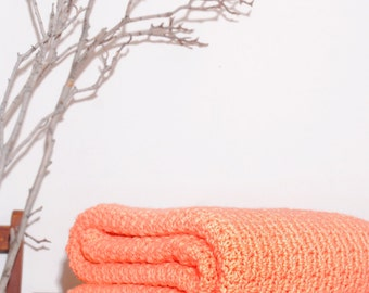 Ready to Ship  Beautiful and Luxuriously Handcrafted CROCHET Blanket Throw PEACH