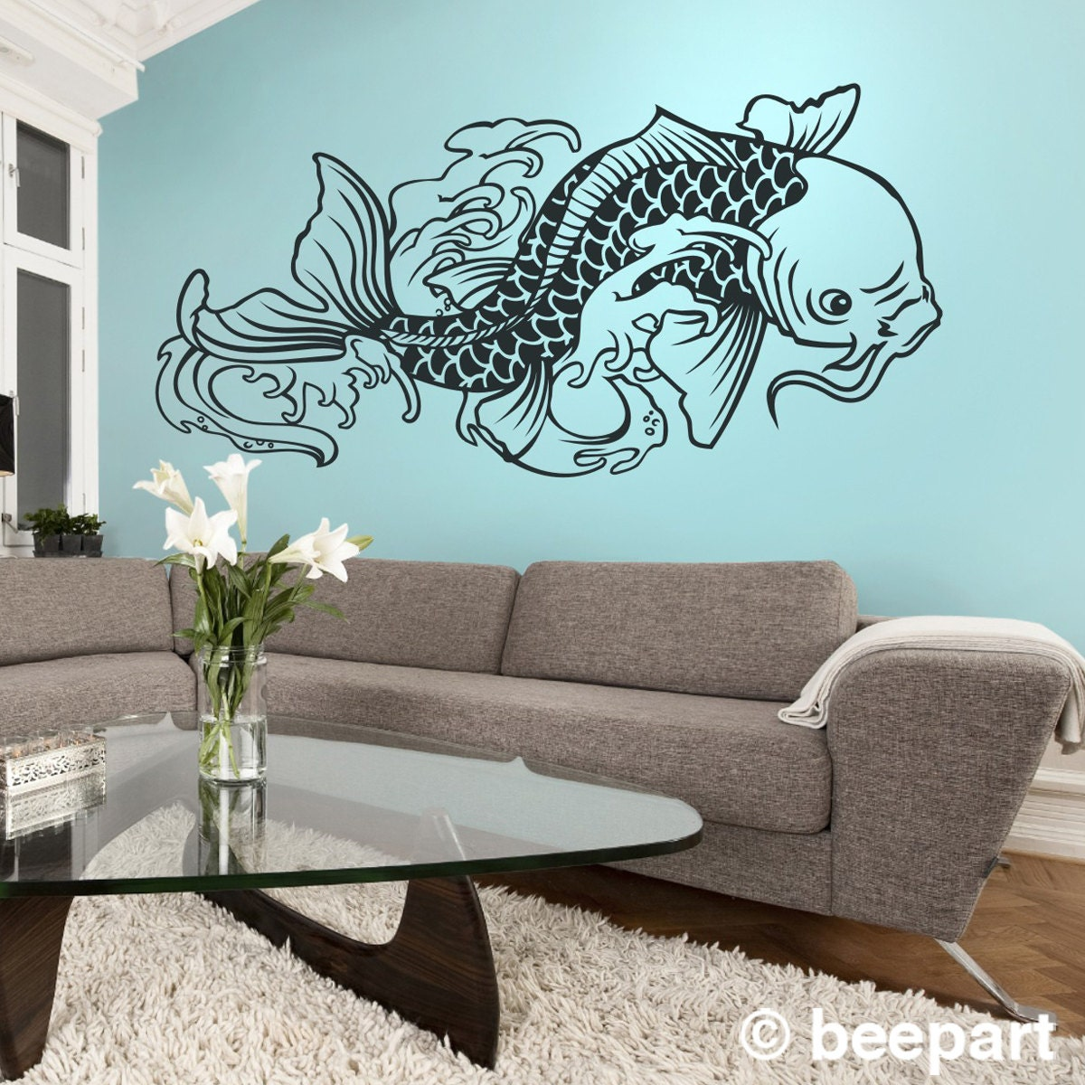 Koi Fish Wall Decal Tattoo Inspired Koi Vinyl Sticker Art - Japanese wall decals