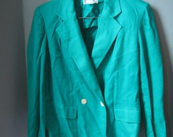 Vintage Christian Dior Suit Jacket, Vibrant Green Blazer, Power Suit, Size M, Medium, Size 8, Size 10, Size 12