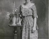 Young Girl w/ Odd Hairdo - Pretty Fashion Dress - Flowers - Real Photo Postcard - early 1900's