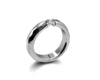 White Sapphire Tension Mens Ring Hammered Stainless Steel Mounting