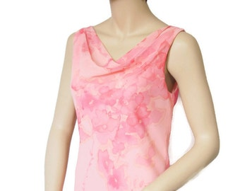 1980's Dress Maxi Vintage Peachy Pink Floral Dress Chifon Long Boho Party Dress Garden Party Size 4-6