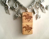 Pony Express Western Horse Rider on Domino Real Centennial 1960 Postage Stamps Charm Necklace Saddles boots Western hats horshoes Adorned