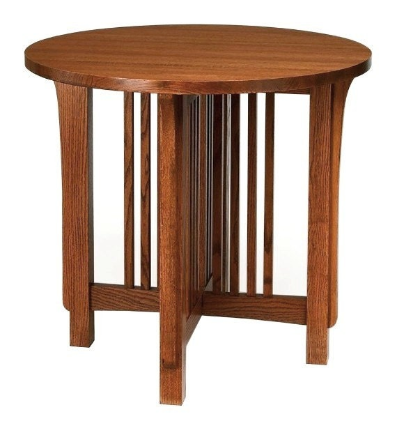 Mission arts crafts stickley style round end table for Arts and crafts style table
