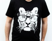 Eye of the tiger shirt - Mens Tiger Tshirt - Cat with Sunglasses - Animal Tee - Small, Med, Large, XL, 2X