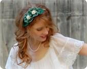 Flower Headband Green Vintage Handkerchief