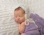 Ready to Ship, Crochet Newborn Baby Girl, Dainty Lace Mohair Shell Bonnet,  Handmade Photo Prop, Photography Prop, Baby Shower Gift, Hat