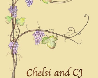 Medium (Chelsi and CJ) Wedding Thumbprint Grape Vine Traditional Canvas 18x24 for up to 180 gsts w two ink pads two pens