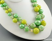 Multistrand Necklace Green Chunky Japan AB Crystal