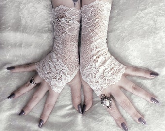 Lace Fingerless Gloves - Pale Ivory Floral Scroll Lace Gloves - Wedding Gloves Bridal Gloves Mori Woodland Gothic Burlesque Gloves - Nephele