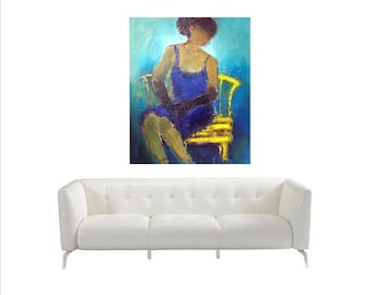 Large oil abstract,cobalt blue,turquoise,oil on canvas,Lady in Blue Dress,fine art original oil painting,original art,for the love of art