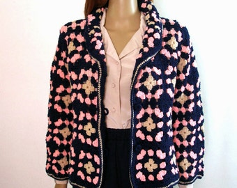 Vintage 1970s Cardigan Sweater Granny Square Navy Pink Sweater / S to M