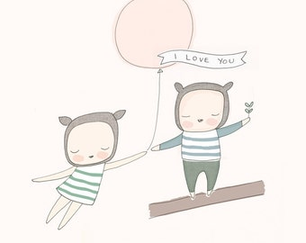 """Nursery Art - Little Bear Girl and Boy with Pink Balloon - I love you - Pale Pink 8x10"""" or A4"""