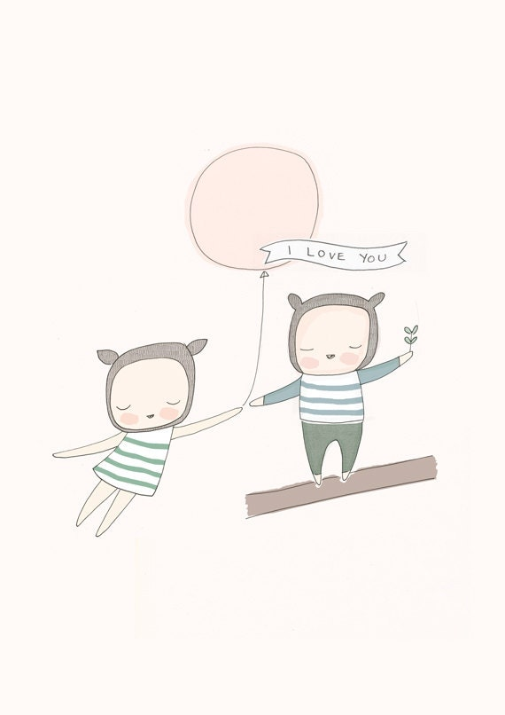 "Children Kids Art, Nursery Poster- Little Bear Girl and Boy with Pink Balloon - I love you. Sizes A3,  11x14"", A2 or 40x50cm"