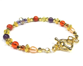 Gold Amethyst Bracelet, Purple Crystal Bracelet, Champagne Pearls, Gold Heart Clasp, Seed Pearls, Orange Ceramic, Unique Handmade Jewelry