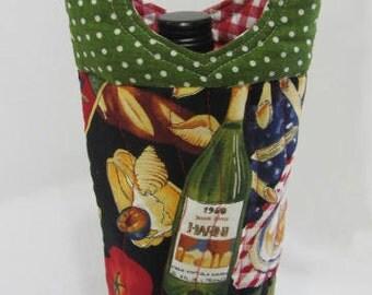 Wine Bag Italian Pasta  QuiltedBag Hostess Gift Rare-OOP Fabric