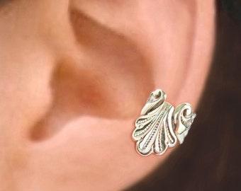 Seashell ear cuff Sterling Silver earrings seashell jewelry Seashell earrings Sterling silver ear cuff Small clip men & women earcuff C-085