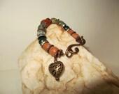 Moss Stone, Carnelian, Jade, Rhinestone and Copper Bracelet