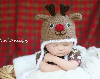 Crochet Red Nose Reindeer hat (Newborn)