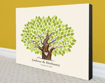 Wedding Guest Book Gallery Wrapped Canvas - Ready To Hang - To Personalize With 130-160 Guest's Signatures