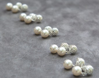 Pearl Bridesmaids Earrings, Set of 6, Silver Filigree Studs Posts, Bridal Party Jewelry Gift, Pearl Stud Earrings