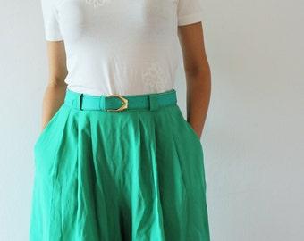 vintage bright green wide leg belted shorts / high waisted culottes / pant skirt, skort