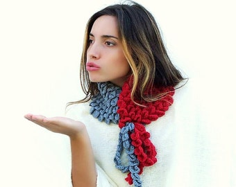Crocodile Stitch Scarf, Crochet Scarf, Red Gray neckwarmer, neck accessory. Knitted accessories