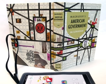 Retro Book Case for iPad Mini, Kindle HDX, Made from 1960s Textbook about US Government, Stylized Map of Washington DC on Cover