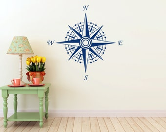 Compass Wall vinyl DECAL- ocean sea nautical, sticker art, room, home and business decor