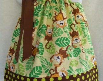 Monkey Pillowcase Dress / Safari / Cute / Green / Brown / Newborn / Infant / Baby / Girl / Toddler / Handmade / Custom Boutique Clothing