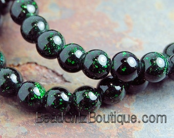 Green Goldstone Beads 6mm round -14.5 inch strand
